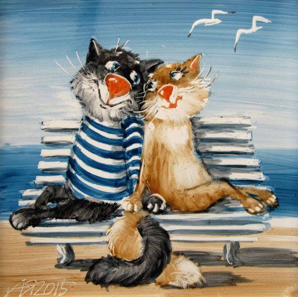 рисованные коты картинки