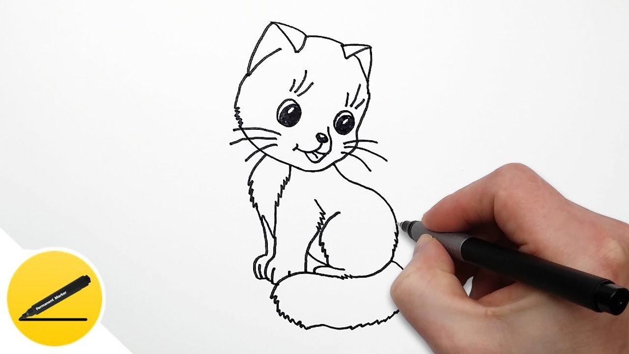 смотреть рисовать кота