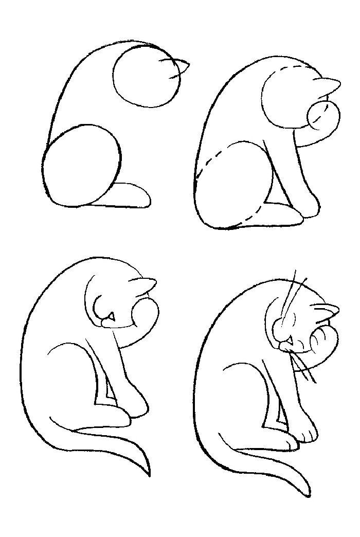 коты рисованные легкие