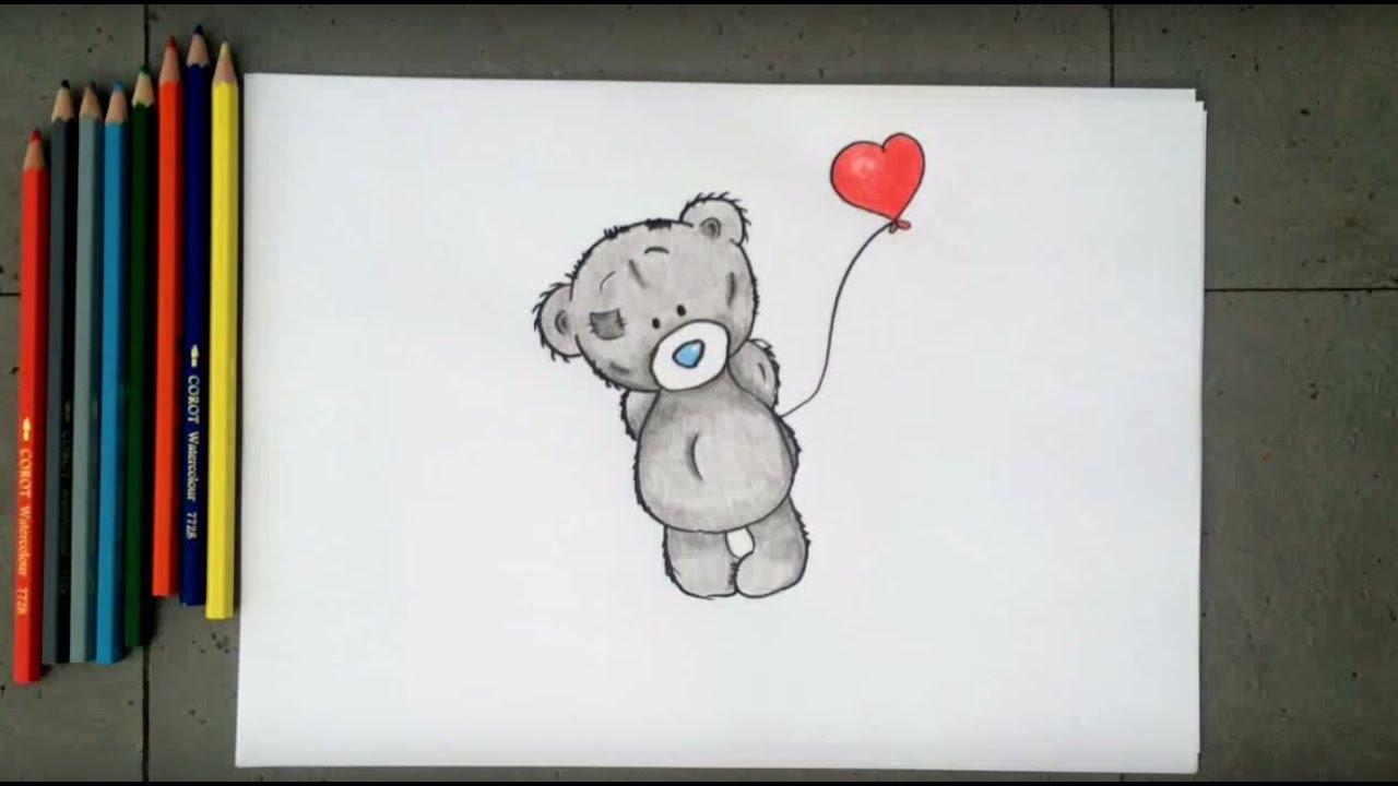 нарисовать мишку тедди сердечком карандашом