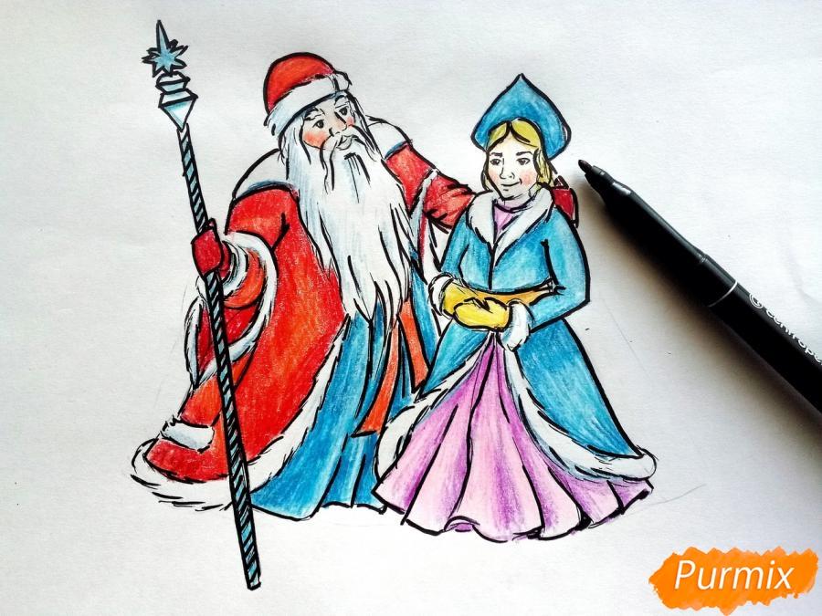 Как нарисовать Деда Мороза и Снегурочку поэтапно