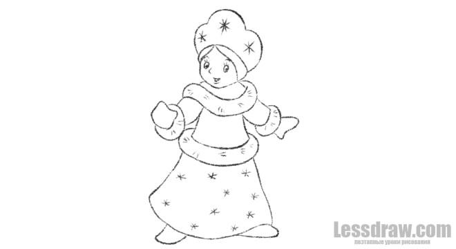 Как нарисовать поэтапно Снегурочку