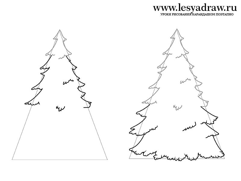 как нарисовать елку карандашом легко и красиво