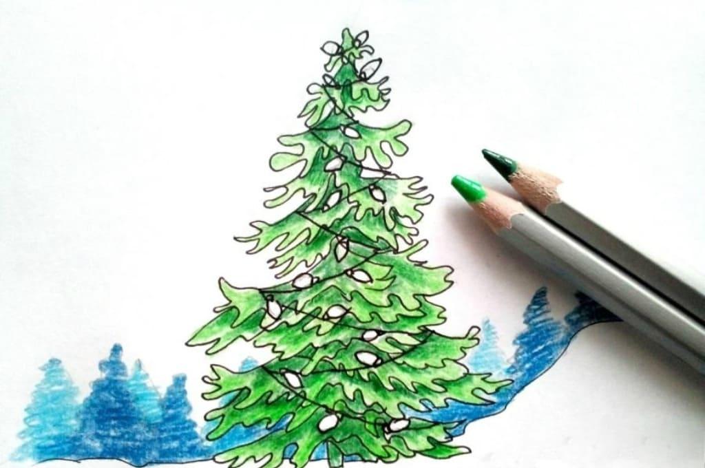 красиво нарисовать елку карандашом