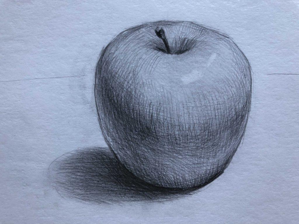 как нарисовать яблоко карандашом поэтапно