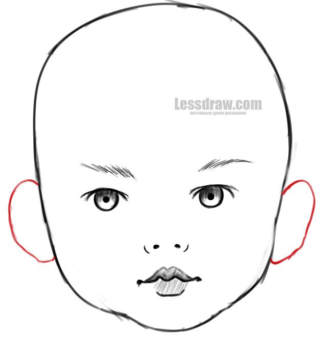 Как нарисовать лицо ребенка карандашом