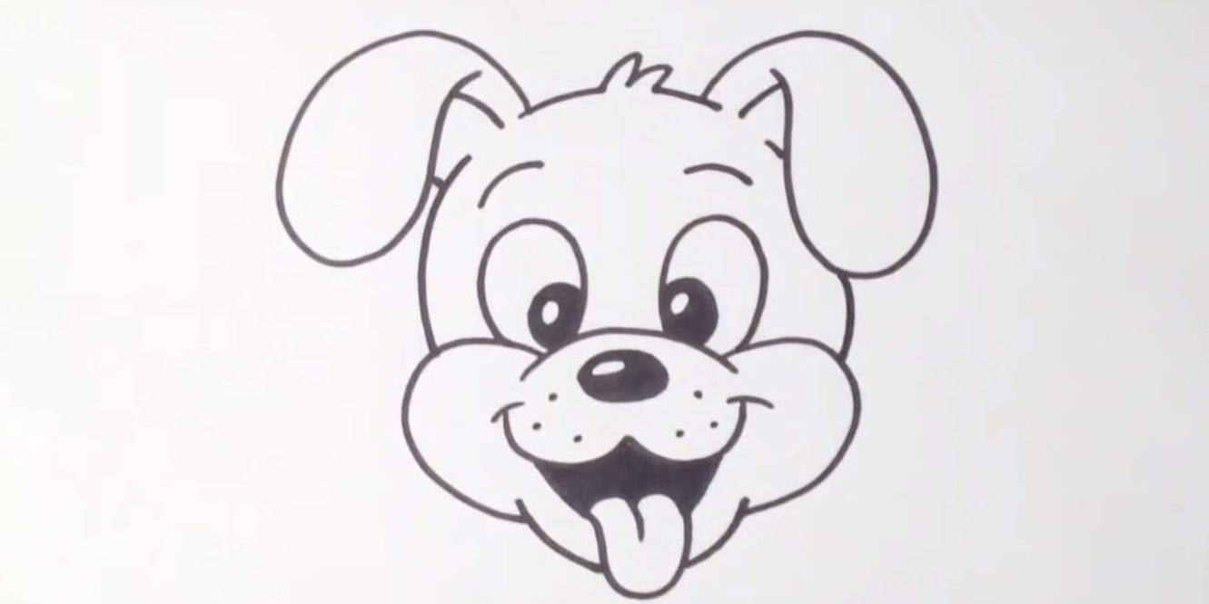Как нарисовать собаку с языком