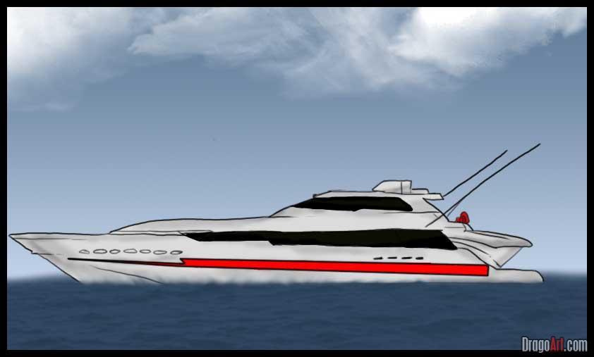 Как нарисовать яхту поэтапно