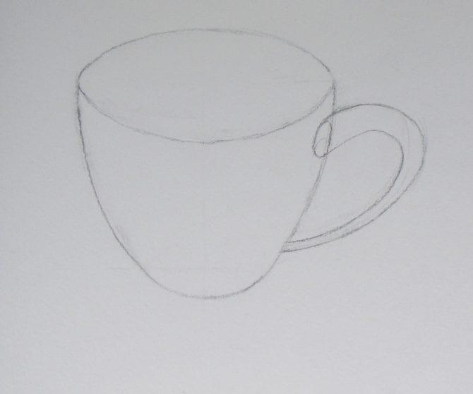 Как нарисовать чашку карандашом