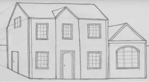 Как нарисовать многоэтажный дом пошагово