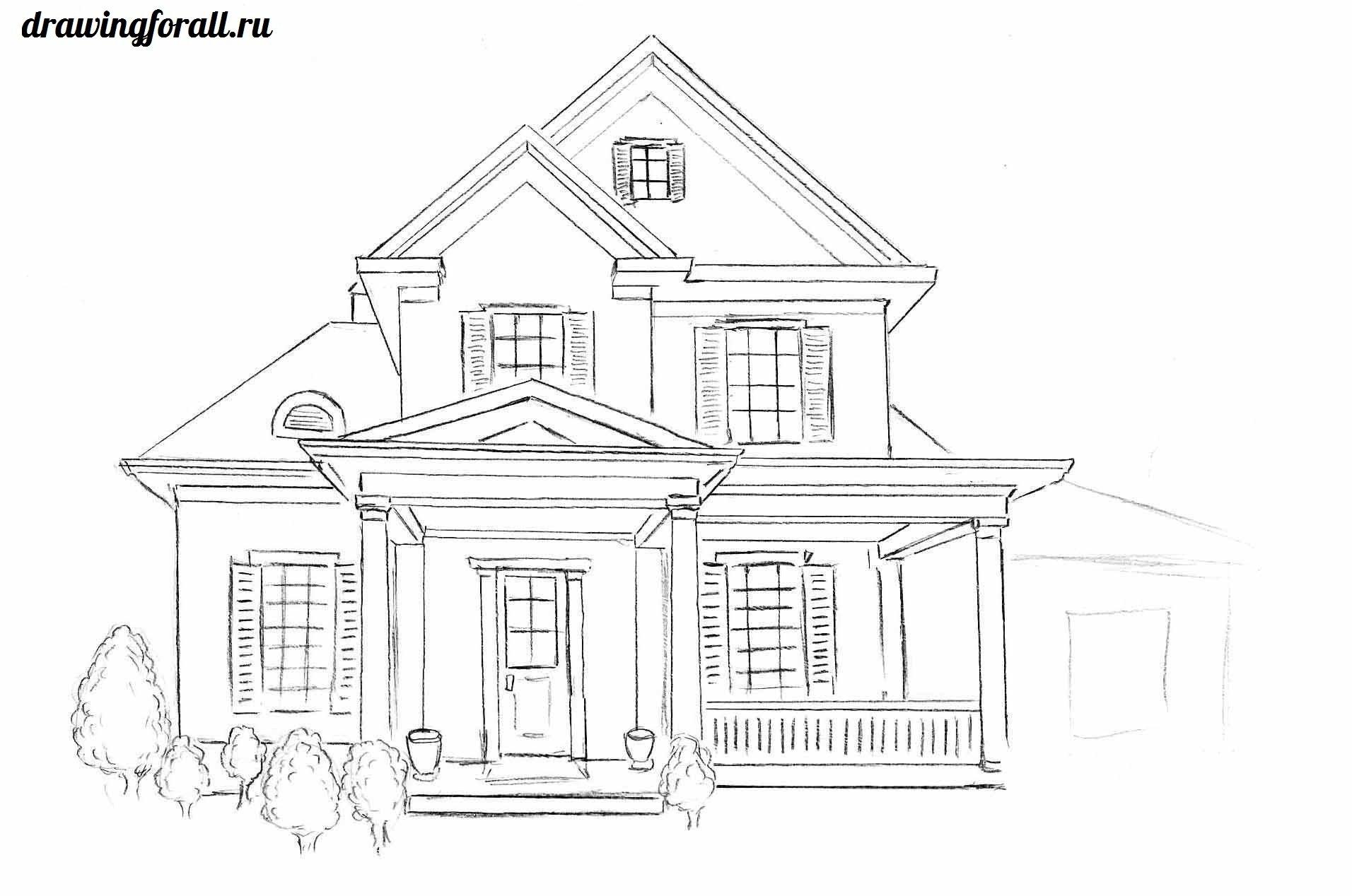 Как нарисовать дом пошагово