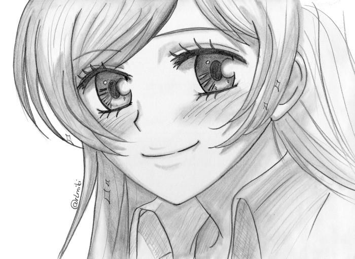 картинки аниме девушек нарисованные карандашом