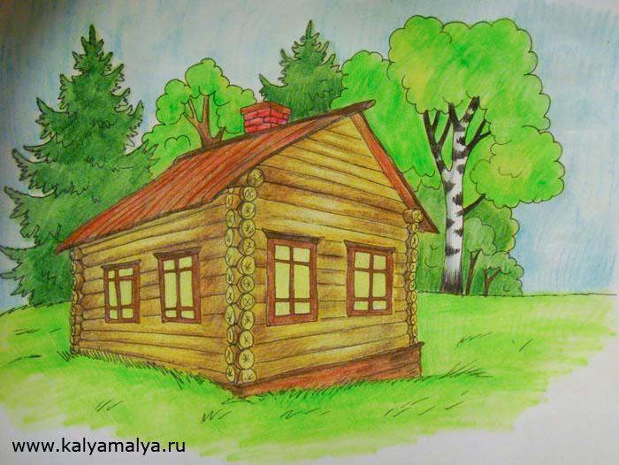 Как нарисовать дом с деревом