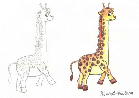 рисунки жирафа для начинающих