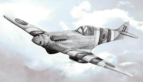 военный самолет карандашом