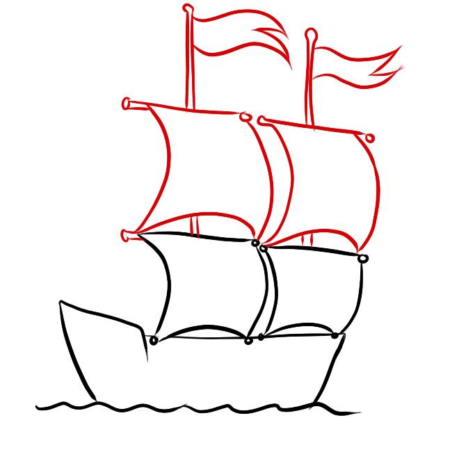 нарисовать корабль пошагово