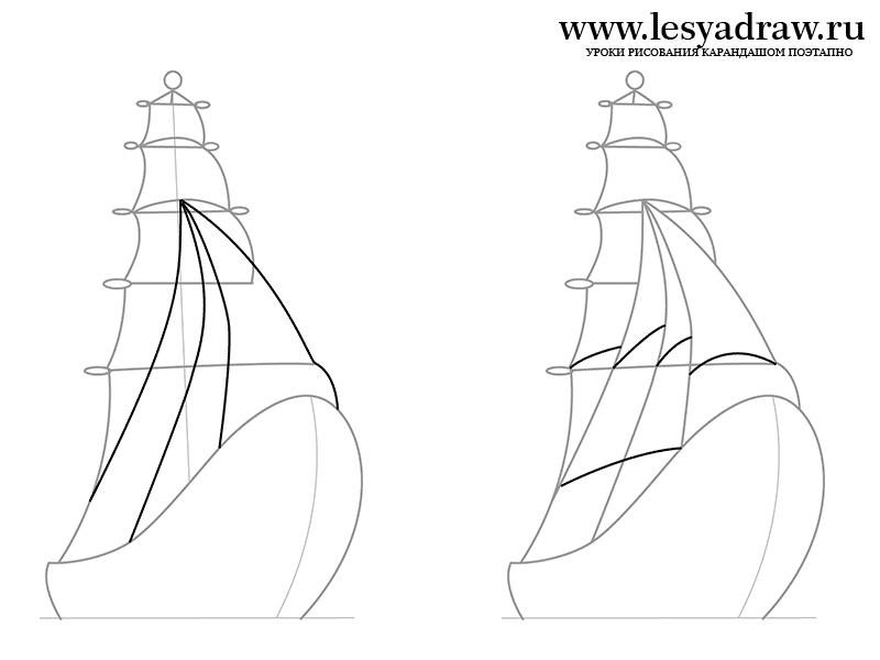 Как нарисовать корабль поэтапно